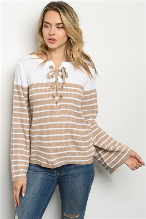 S8-13-4-S70462 BEIGE WHITE SWEATER 4-2
