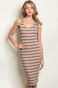 S17-1-1-D2187 GREY STRIPES DRESS 1-1-1