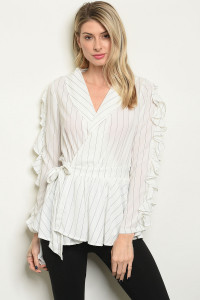 S17-12-4-T22150 WHITE STRIPES TOP 1-1-1