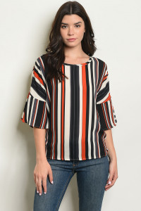 S4-2-1-T20162 BLACK STRIPES TOP 2-2-2