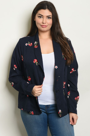 C40-B-1-J8575X NAVY WITH FLOWER EMBROIDERY PLUS SIZE BLAZER 2-2-2