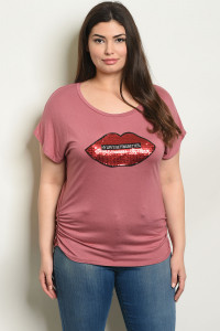 "C44-B-3-T21312X MAUVE WITH ""HY LIFE'S GETTING BETTER"" PRINT PLUS SIZE TOP 2-2-2"