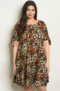 C79-A-4-D4112X LEOPARD PRINT PLUS SIZE DRESS 2-2-2