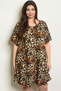 C77-A-2-D4084X LEOPARD PRINT PLUS SIZE DRESS 2-2-2