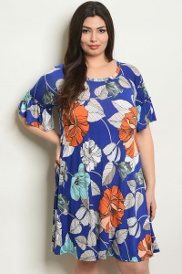 C73-A-2-D4084X ROYAL WITH FLOWER PRINT PLUS SIZE DRESS 2-2-2