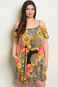 C73-A-4-D1068X FUCHSIA PRINT PLUS SIZE DRESS 2-2-2