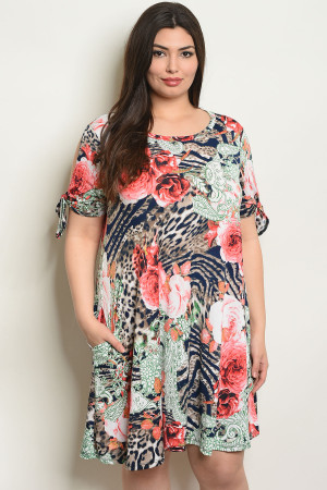 C67-A-4-D4112X NAVY WITH RED ROSES PRINT PLUS SIZE DRESS 2-2-2