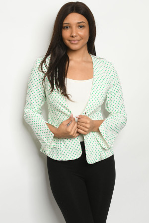 S14-8-5-J4219 IVORY GREEN WITH DOTS BLAZER 2-2-2
