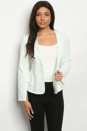 S14-7-5-J4219 IVORY BLUE WITH DOTS BLAZER 2-2-2