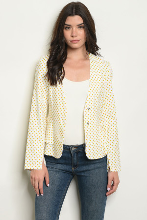 S14-8-5-J4219 IVORY MUSTARD WITH DOTS BLAZER 2-2-2
