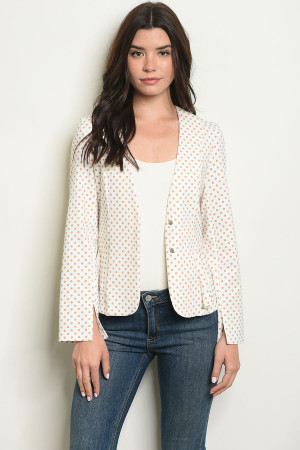 S14-5-5-J4219 IVORY MOCHA WITH DOTS BLAZER 2-2-2