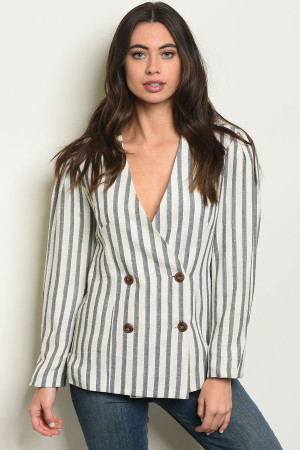 S9-13-1-J1323 NAVY CREAM STRIPES LINEN BLAZER 2-2-2