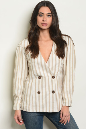 S9-13-1-J1323 TAUPE CREAM STRIPES LINEN BLAZER 2-2-2