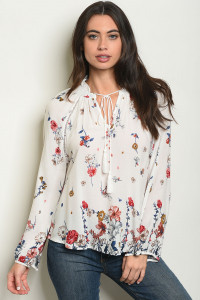 S10-20-4-T10121 WHITE FLORAL TOP 2-2-2