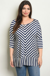 C7-A-6-T2164X IVORY STRIPES PLUS SIZE TOP 2-2-2