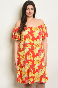 S17-3-4-D4067X RED WITH FLOWER PRINT PLUS SIZE DRESS 1-1-1