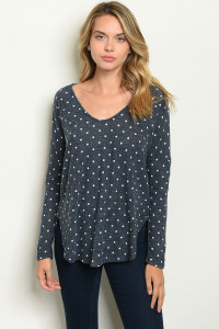 S17-3-4-T28453 NAVY WITH DOTS TOP 1-1-1