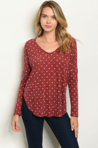 C74-B-3-T28453 BURGUNDY WITH DOTS TOP 2-2-2