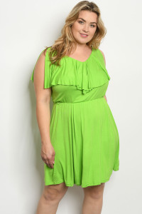 S23-13-1-D21064X GREEN PLUS SIZE DRESS 3-2-2