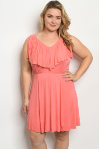 S24-8-3-D21064X CORAL PLUS SIZE DRESS 2-2-2