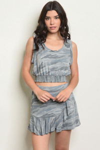 S22-12-5-SET83052 GRAY CAMOUFLAGE TOP & SHORT SET 2-2-2