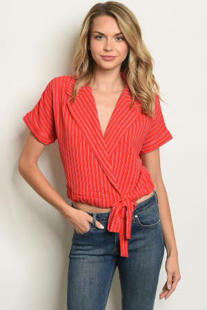 S15-10-3-T2546 RED STRIPES TOP 2-2-2