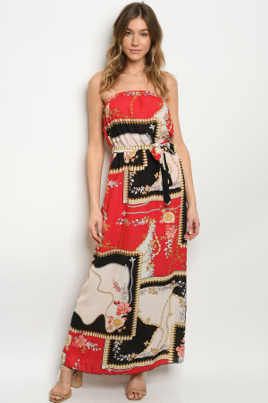S15-9-1-D3550 RED WITH FLOWER DRESS 2-2-2