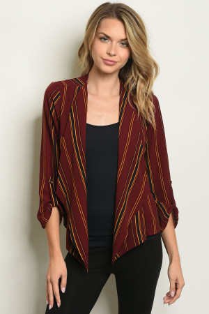 S13-5-1-B2002 BURGUNDY STRIPES BLAZER 2-2-2