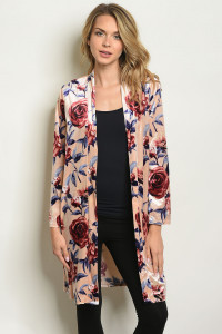 S14-11-1-C1815 PEACH WITH ROSES PRINT CARDIGAN 2-2-2