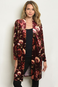 S9-20-4-C1815 BURGUNDY WITH ROSES PRINT CARDIGAN 2-2-2