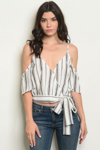 S19-3-4-T10245 OFF WHITE STRIPES TOP 2-2-2