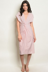 S25-1-4-D20867 RED STRIPES DRESS 2-2-2