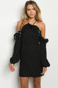 S8-8-4-D1251015 BLACK POLKA DOTS DRESS 2-2-2