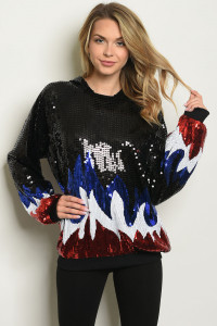 S8-9-4-S0843 BLACK RED W/ SHIMMER SEQUINS SWEATER 6PCS