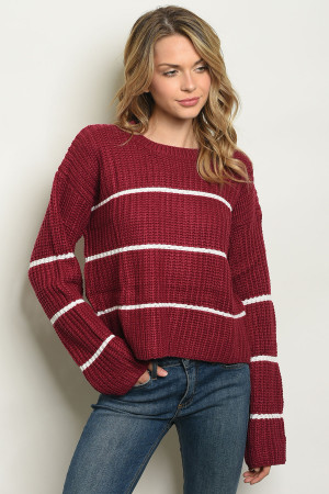S13-10-2-S300 BURGUNDY W/ STRIPES SWEATER 3-2-1