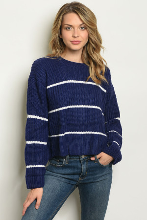 S13-7-2-S300 NAVY W/ STRIPES SWEATER 3-2-1