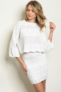 S11-11-1-SET5575 WHITE TOP & SKIRT SET 3-2-1