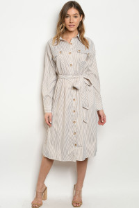 S11-9-2-D32747 TAUPE STRIPES DRESS 3-2-1
