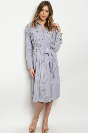 S11-8-1-D32747 BLUE STRIPES DRESS 3-2-1