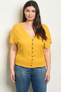 S4-2-4-T9929X MUSTARD PLUS SIZE TOP 2-2-2
