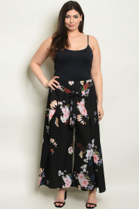 S4-2-4-P9801X BLACK FLORAL PLUS SIZE PANTS 2-2-2