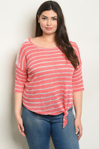 C84-B-3-T0918X CORAL STRIPES PLUS SIZE TOP 2-2-2