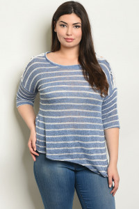 C84-B-2-T0918X BLUE STRIPES PLUS SIZE TOP 2-2-2