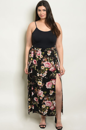 C92-A-3-S92652X BLACK FLORAL PLUS SIZE SKIRT 2-2-2