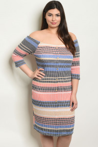 C94-A-7-D0951X BLUE MULTY PLUS SIZE DRESS 2-2-2