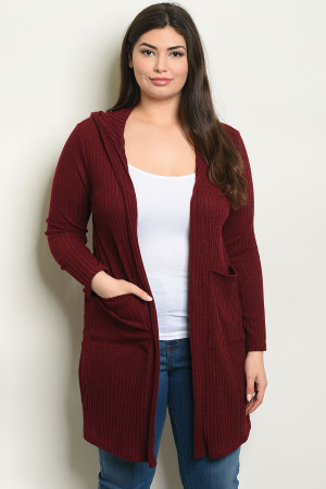 C102-A-3-C8561X BURGUNDY PLUS SIZE CARDIGAN 2-2-2