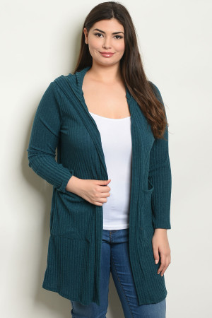 C100-A-2-C8561X TEAL PLUS SIZE CARDIGAN 2-2-2