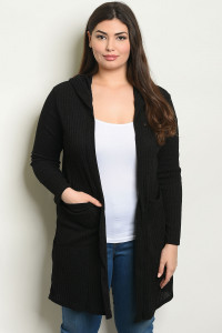 C102-A-2-C8561X BLACK PLUS SIZE CARDIGAN 2-2-2