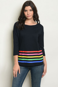 S19-12-4-T1845 NAVY WITH STRIPES TOP 2-2-2-1