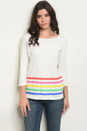 S15-12-3-T1845 IVORY WITH STRIPES TOP 4-2-2
